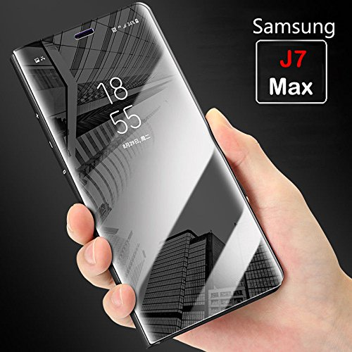huge selection of 0759a dd106 mobistyle Smart View Semi Clear Mirror Flip With Luxury Stand Cover Case  For Samsung J7 Max (Black)