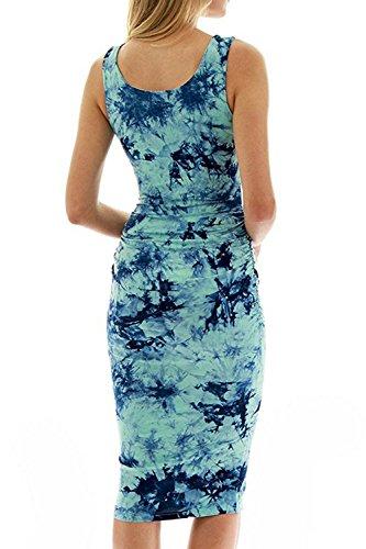Slim Floral Damen Tank Blau Yacun Bodycon Kleid Sommerkleid Casual Ärmellose