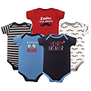 Luvable Friends Baby Infant Basic Bodysuit, 5 Pack, Heart Breaker, 6M(3-6 Months)