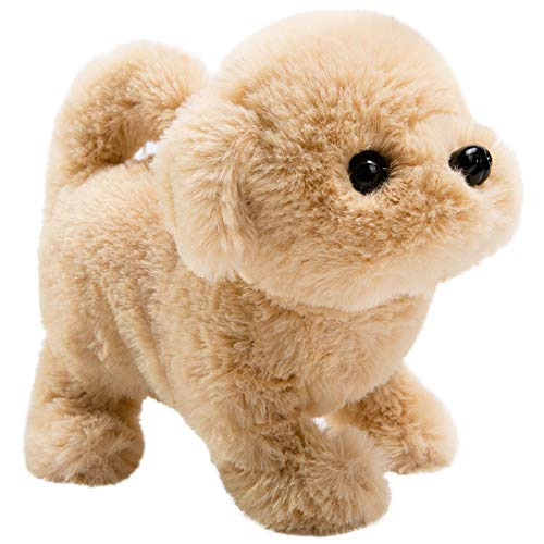 Plush Dog Pet Puppy Toy - HollyHOME Plush Golden Retriever Electronic Interactive Toy Walking,Barking,Wagging Tail,Stretching Puppy Dog 7 Inches Gifts for Kids & Pets
