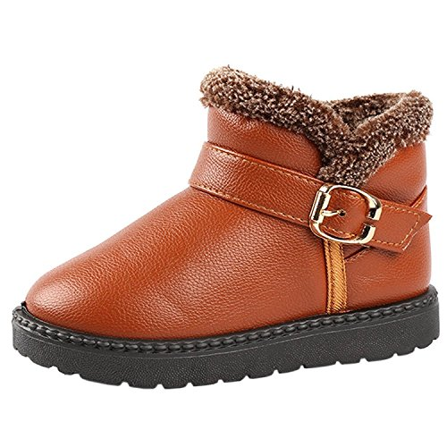 KVbaby Boys Girls Winter Warm Fur Lined Ankle Snow Boots Flat Booties Shoes (Toddler/Little Kid/Big Kid) Brown