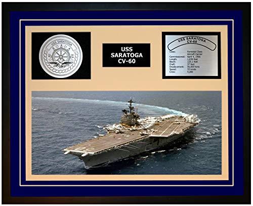 Navy Emporium USS Saratoga CV 60 Framed Navy Ship Display Blue