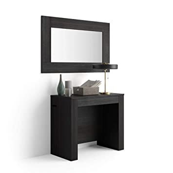 Mobili Fiver Table Console Extensible Avec Porte Rallonges Easy Frêne Noir 90 X 45 X 76 Cm Mélaminé Aluminium Made In Italy