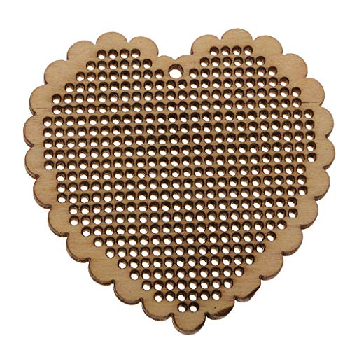 NATFUR Wood Blanks Pendants Charm for DIY Cross Stitch Kit Key Chain Key Ring Decor for Women Cute for Men Holder Perfect for Girls Pretty Novelty | Size - Heart