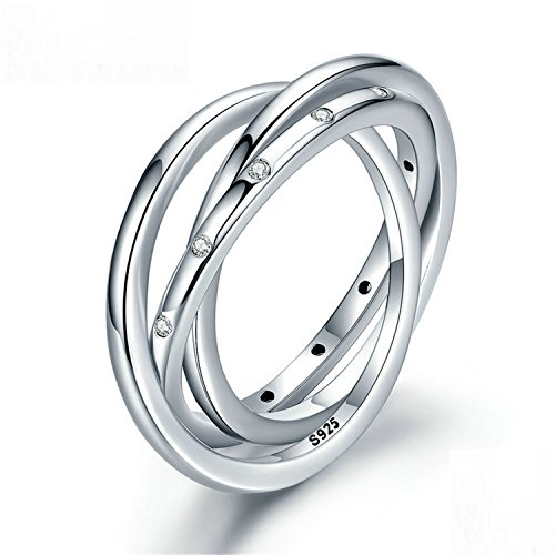 Sterling Swirling Flower Earrings - Baqijian Sterling 3 Circles Stackable Swirling Clear Ring Women Engagement Jewelry Pa7627
