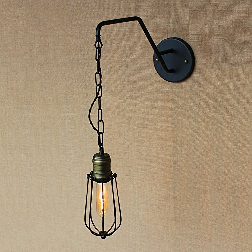 KMYX Personality Single Head Long Iron Chain Wall Lamp Openwork Iron Wall Lights for Aisle Bedroom Study Restaurant Industrial Style Loft E27 Wall Sconce Retro Wall - Single Wall Openwork