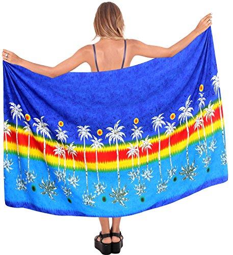 falda del traje de baño traje de baño de damas abrigo ropa de playa pareo pareo cubierta hawaiano hasta bañador de las mujeres Azul