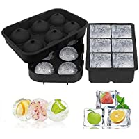 Ice Cube Trays, Silicone Sphere Whiskey Ice Ball Maker with Lids & Large Square Ice Cube Molds for Cocktails & Bourbon…