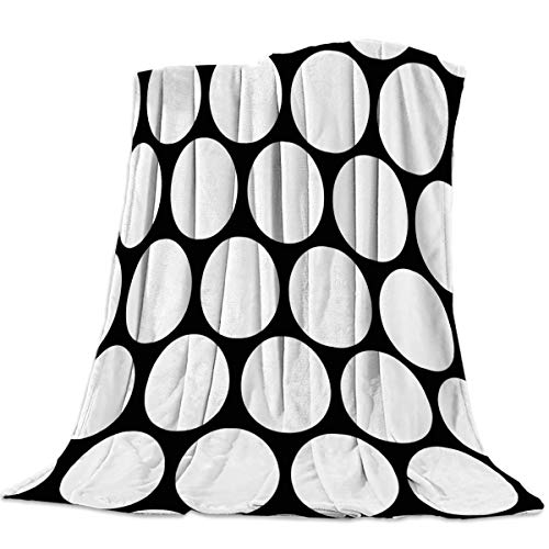 - T&H Home Fuzzy Weighted Blanket Black White Blankets, Polka Dot Simple Illustration Warm Flannel Throw Blanket for Baby Girls Boys Adult Home Office Sofa Chair Cars 50