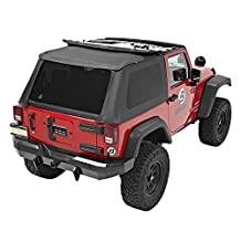 Bestop® 56822-35 Black Diamond Trektop™ NX Complete Replacement Soft Top with No Doors Included- Tinted Windows-  2007-2012 Jeep Wrangler (except Unlimited)