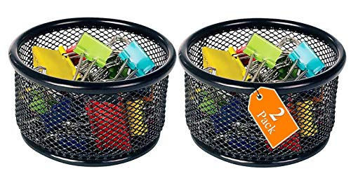 1InTheOffice Mesh Paper Clip Holder for Desk, Paperclip Holder (2 Pack)