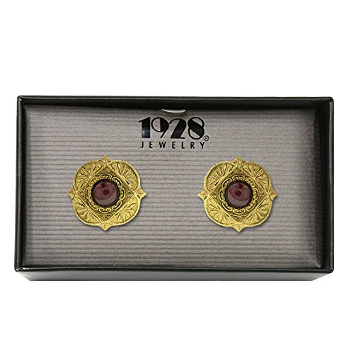 1928 Jewelry Gold-Tone and Semi-Precious Garnet Cuff Links