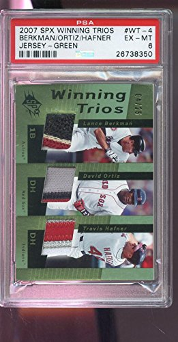 2007 SPX Winning Trios David Ortiz Lance Berkman Game-Worn Jersey Card Used PSA