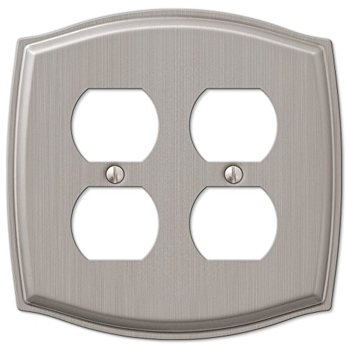 Double Duplex Outlet Wall Plate Cover - Brushed Nickel