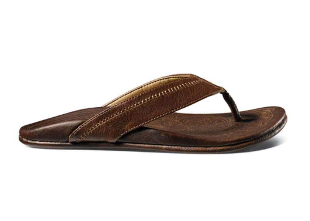 OluKai Hiapo Seal Brown / Black Mens Leather Sandals - 8