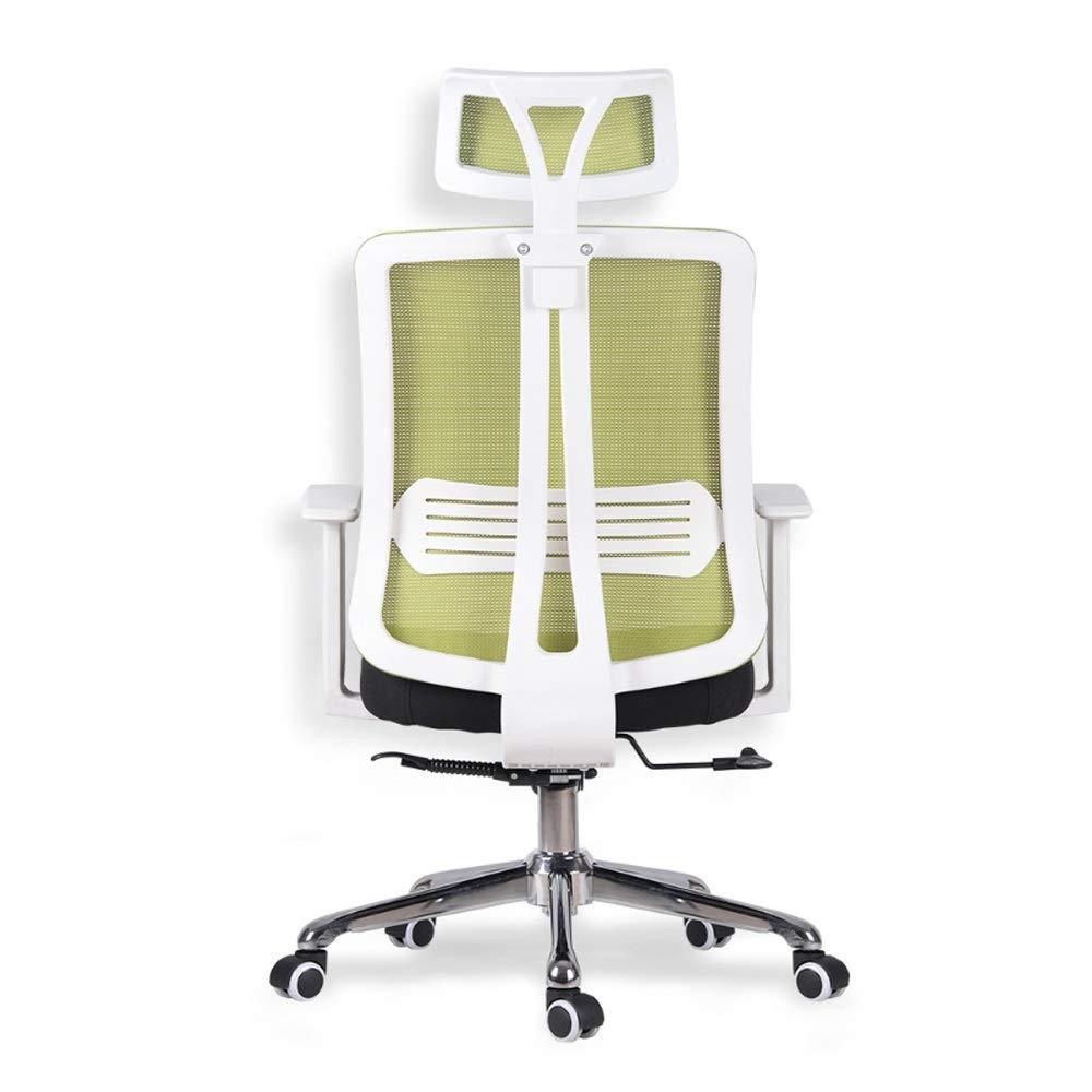 Sunferkyh kontorsstol hög rygg verkställande skrivbord fåtölj med krombas lämplig för kontor och hemmabruk lämplig för studiekontor (färg: svart) gRÖN