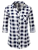 JJ Perfection Womens Long Sleeve Collared Button Down Plaid Flannel Shirt NAVYWHITE 1XL