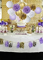 Furuix 16 pcs White Purple Gold Tissue Paper Pom Pom Paper Lanterns Circle Paper Garland Mixed Package for Purple Themed Party Wedding Paper Garland, Bridal Shower Decor Purple Baby Shower Decoration
