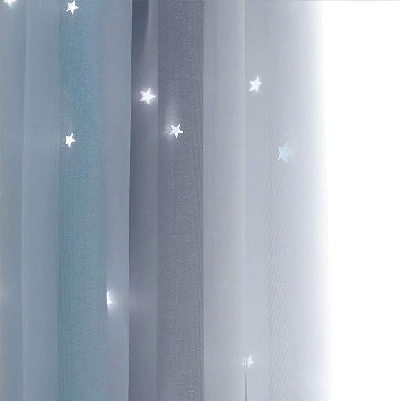 MacoHome Blue Star Cut Curtains Gradient Stripe Decoration Panel