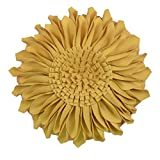 Yellow Accent Chair JW Handmade 3D Sun Flowers Accent Pillows Round Cushions for Home Sofa Car Office Chair Bed Decoration Canvas Yellow 14 Inch / 35 CM
