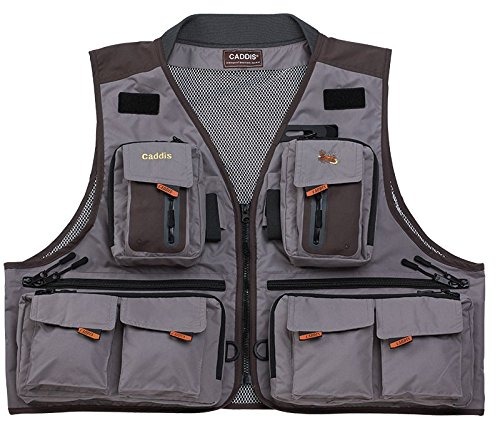 Cheap Caddis Waders Men's Northern Guide Breathable Fishing Vest, Grey/Brown