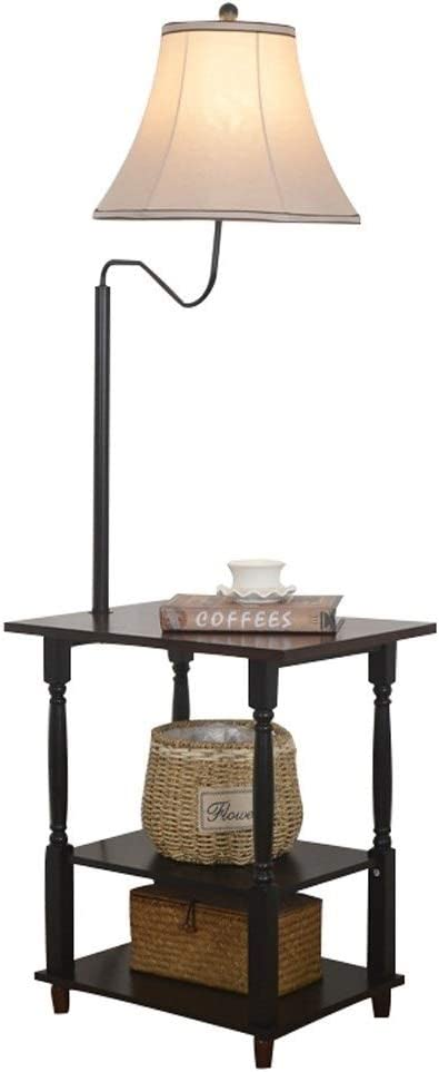 Lámparas de pie Lámpara de pie LED con puertos de carga USB-Mesita de noche moderna Mesita de noche Mesa con estantes for sofás de sala de estar-Clásico negro: Amazon.es: Iluminación