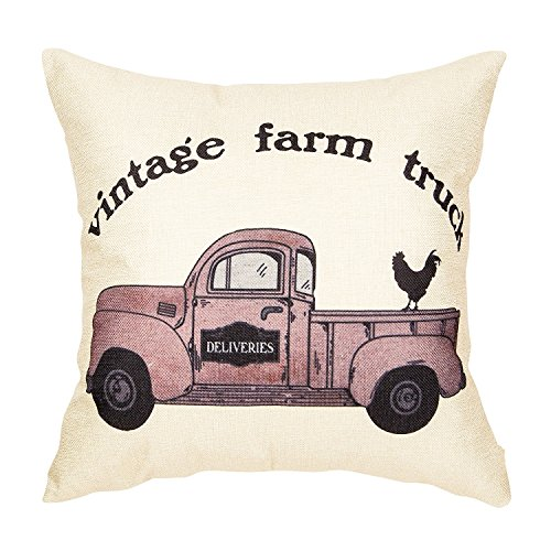Acelive 18x18 Inches Vintage Farm Truck Hen Rustic Country Style Retro Farmhouse Quote Gift Cotton Linen Home Decorative Throw Pillow Case For Valentine's Day Gift Christmas
