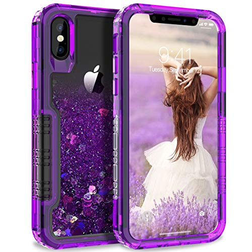 Dexnor Compatible with iPhone X/ XS Hard Case Floating Glitter Bling Moving Liquid Quicksand Cover Clear Transparent Thickened Dual Layer Full Protection Bumper for Girls/ Women - Purple
