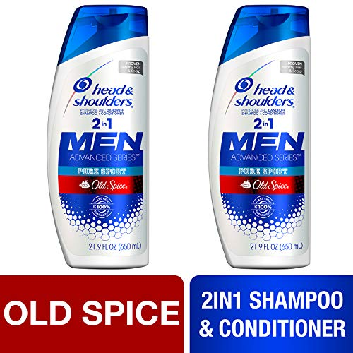 Head and Shoulders Shampoo and Conditioner 2 in 1, Anti Dandruff Treatment, Old Spice Pure Sport for Men, 23.7 fl oz, Twin Pack