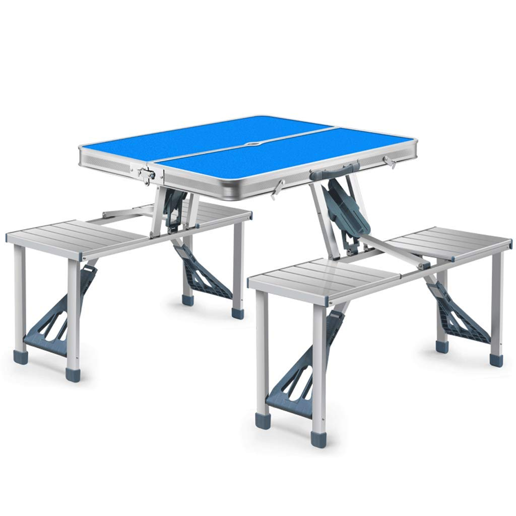 Frf Tavolo Pieghevole- Set da Tavolo e Sedia Portatile da Esterno, Tavolo da Barbecue con Tavolo da Campo (colore   Blu, Dimensioni   85.5x67x66cm)