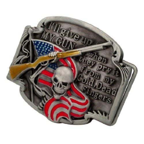 Buckle Rage Adult Mens Gun Rights Phrase Shotgun Skeleton Flag Belt Buckle Red