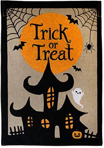 Briarwood Lane Trick or Treat Halloween Burlap House Flag Haunted House 28
