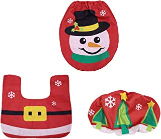 helegeSONG Toilet Cover Set, 3Pcs/Set Christmas Snowman Santa Claus Toilet Floor Mats, Seat Tank Cover Rug Bathroom Carpet Decor Snowman
