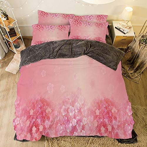 Flower Coral Pink Natural (Flannel Duvet Cover Set 4-Piece Suit Warm Bedding Sets Quilt Cover for Bed Width 6.6ft Pattern by,Light Pink,Plum Blossom Botany Beauty Natural Spring Elegance Flowers Background Print,Coral Ruby)