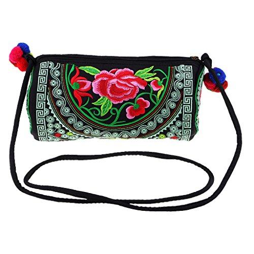 Girls Shoulder Ladies Messenger 27 3 13 6 x Bag Women's 13 cm Bag FLAMEER Crossbody Embroidered Style Ethnic Shoulder x FgqxzRw