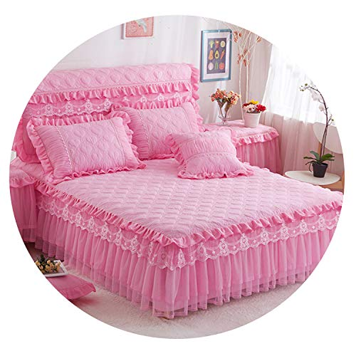 Dreamedge bedclothes Bedding Set Princess Style Thick Cotton Bedspreads and Pillowcases Single Queen King Size Bed Cover for Girl Room Decorative,Pink,120x200 A Pillowcase