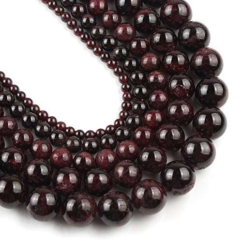Yochus 10mm Dark Red Garnet Round Loose Beads Natural Stone Beads for Jewelry Making