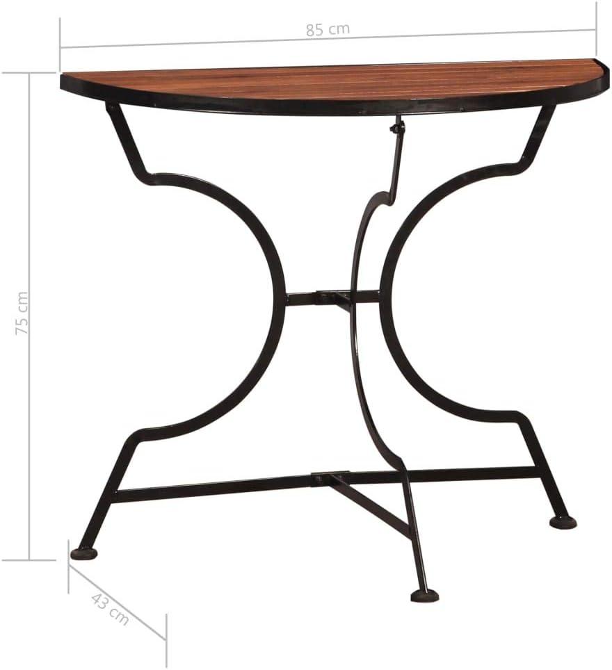 vidaXL Legno Massello di Acacia Tavolo da Bistr/ò Rustico Tavolino da Balcone e Patio Robusto Resistente allAcqua a Semicerchio Marrone