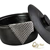 Qlty First Cast Iron Cleaner - Made of XL 7x7 Inch Premium 316L Stainless Steel Chainmail Scrubber, Includes a Dish Drying Cloth