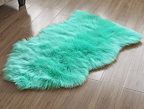 OJIA Deluxe Soft Faux Sheepskin Chair Cover Seat Pad Plain Shaggy Area Rugs For Bedroom Sofa Floor (2ft x 3ft, Mint Green) (Mint Rug)