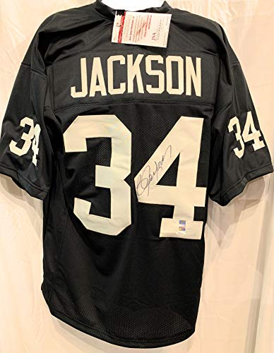 Oakland Autograph Athletics - Bo Jackson Oakland Raiders Signed Autograph Black Custom Jersey JSA Witnessed Certified