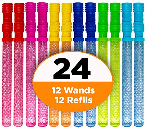 "Bubble Wands for Kids Party – 14"" Big Bubble Wands (1 Dozen) +FREE 12 Bubble Refills, 6 Assorted Colors, Children Birthday Party Favors, Bubbles for Kids Activity Toy Wand, Birthday -"