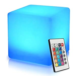 Mr.Go 16-inch 40cm Rechargeable LED Light Cube Stool Waterproof with Remote Control Magic RGB Color Changing Side Table Home Bedroom Patio Pool Party Mood Lamp Night Light Romantic Decorative Lighting