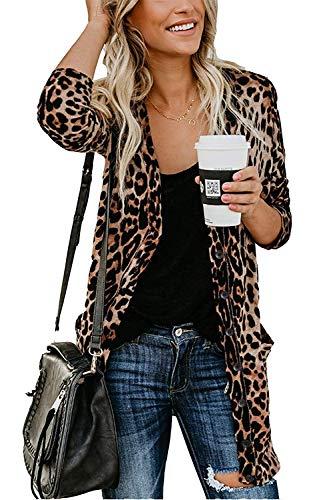 Leopard Print Front Pocket - Mengya Women Lightweigh Leopard Prints Button Down Open Front Shirt Cardigan Sweater with Pockets