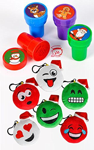 MSP Toys & Games Christmas Emoticon (Emoji) Plush Clip-On and Stampers Bundle (36 -
