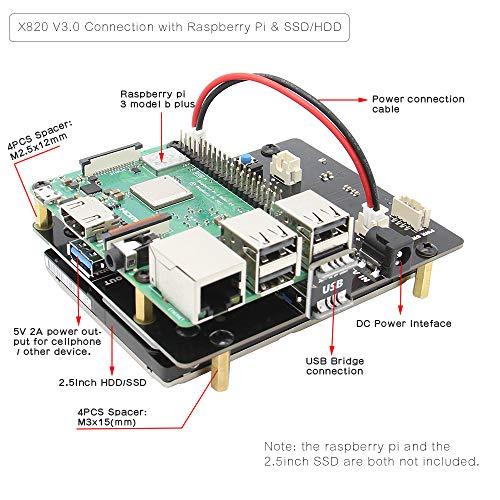 Geekworm X820 V3.0 2.5 inch SATA HDD/SSD Storage Expansion Board w/USB 3.0 Interface + DC 5V 4A Power Adapter w/EU/US Plug Kit for Raspberry Pi 3 Model B+ / 3B / 2B / B+ by Geekworm (Image #4)