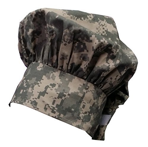 Chefskin Camo Camouflage Digital Chef Hat Mushroom Style with Velcro by CHEFSKIN