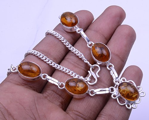 Nimbark Amber Superb Look Oval Shape Silver Plated Jewelry Necklace 16