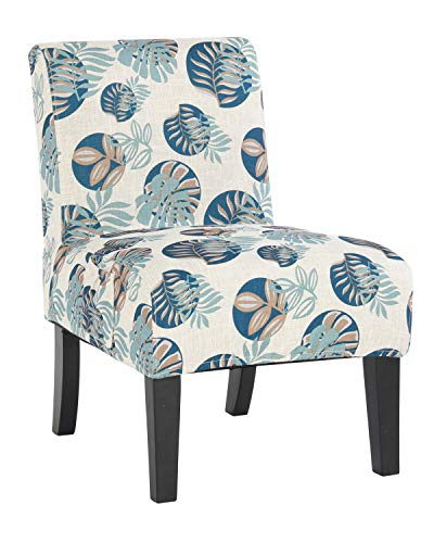 Contemporary Floral Fabric - Altrobene Armless Fabric Patterned Accent Chair with Modern Contemporary Style & Removable Washable Cover (Floral, Beige)