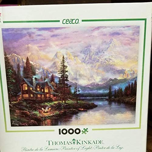 1000 pc Thomas Kincade Painter of Light Puzzle-Cathedral Mountain Lodge